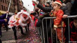 Chinese New Year parade, New York, 2 February 2014