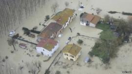 Flooded homes near Pisa, Italy