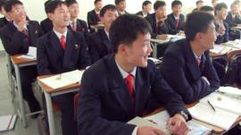 North Korea university classroom