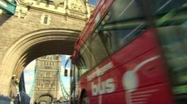 Bus crossing a bridge
