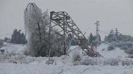 Collapsed pylon in snow