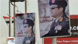 Posters of Field Marshal Abdul Fattah al-Sisi in Cairo. Jan 2014