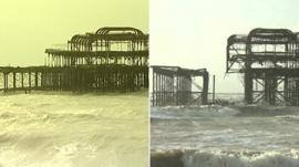 Brighton's West Pier in 2010 and after the February 2014 storm