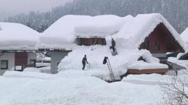 House buried in snow in Austria