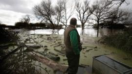 Flooding damage on the Somerset levels