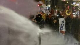 Police used water cannon to disperse protesters