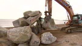 Digger on Weymouth beach