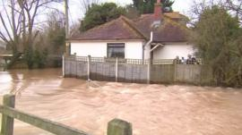 Floods around a house