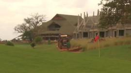 house being built by golf course