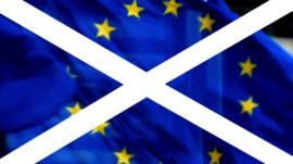 A graphic combining the Scottish and EU flag