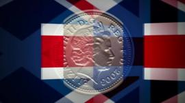 Graphic of pound coin, with Scottish and Union flags