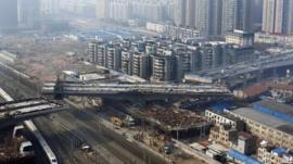 An overpass under construction in Wuhan