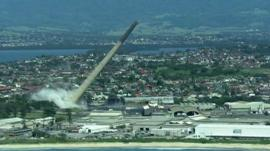 The Port Kembla chimney falling over