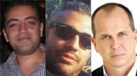 Detained Al-Jazeera English journalists Baher Mohamed, Mohamed Fahmy and Peter Greste (image courtesy Al Jazeera)