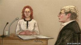 Court sketch of Rebekah Brooks