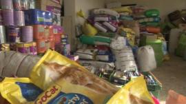 Supplies of donated pet food