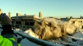 Demolition of Minnesota's Metrodome stadium