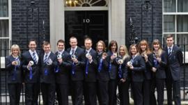GB medal winners at Downing Street