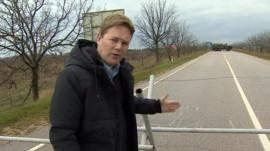 The BBC's Christian Fraser on the road to Sevastopol airport