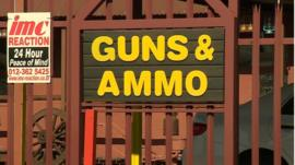 Sign in South Africa reads 'Guns and Ammo'