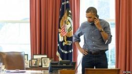 Obama on telephone