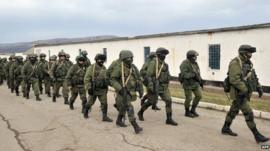 Soldiers surround Ukrainian army base in Crimea. 2 March 2014