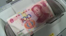 Chinese currency on counting machine