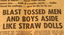 Newspaper headline on pit explosion