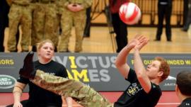 Prince Harry playing volleyball at event launch