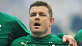 Ireland's Brian O'Driscoll sings the national anthem