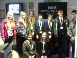 Group of School Reporters at Radio Cornwall