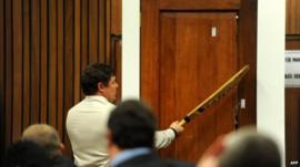 Police forensic expert Colonel Johannes Vermeulen demonstrating bat hitting door