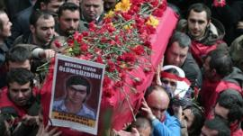 Berkin Elvan's coffin being carried in Instanbul