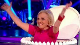 Mary Berry pops out of a cake on Strictly Come Dancing