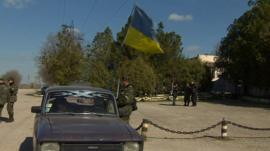 Ukrainian soldiers at the base