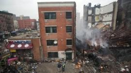 The site where two New York City apartment buildings collapsed