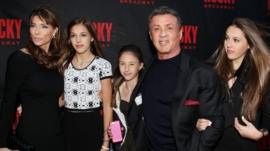 Sylvester Stallone with wife Jennifer Flavin and daughters Sistine, Scarlet and Sophia