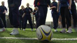 Rugby coaching at a school in west Belfast