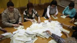 Ballots cast in Crimea