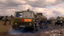 Ukrainian army vehicles