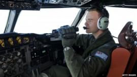 Pilot searches from a Royal Australian Air force plane