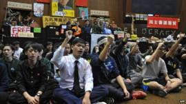 Taiwanese students occupying parliament's main chamber