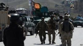 Afghan security forces at scene of attack