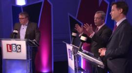 Nigel Farage and Nick Clegg debate immigration