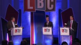 Nick Clagg and Nigel Farage debate human rights legislation