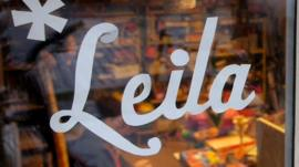 Leila shop sign