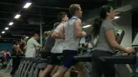 Young Bristolians working out in a city gym