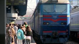 A train from Sevastopol arrives in Kiev
