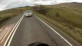 Biker's helmet cam view of near miss