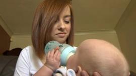 Sophie Aldridge with baby